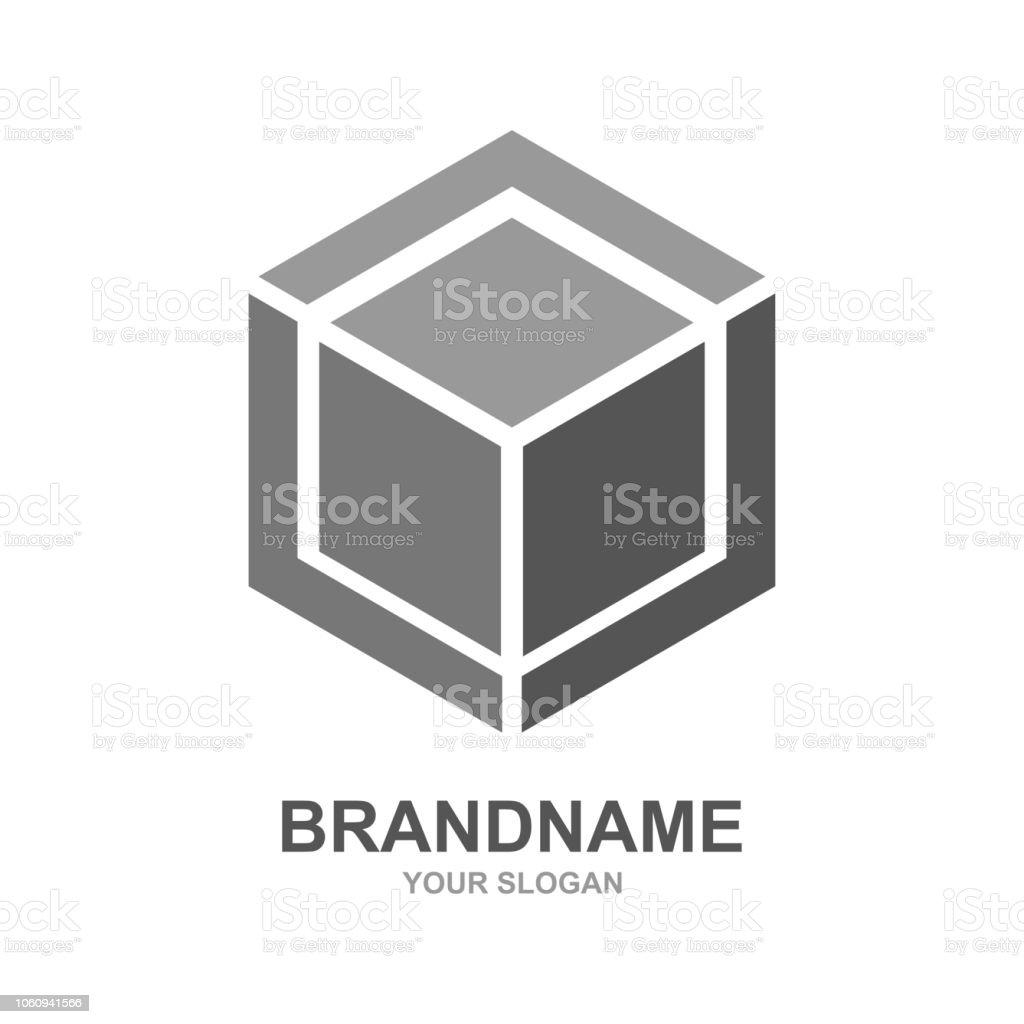 Cube logo design icon vector outbox. Vector vector art illustration