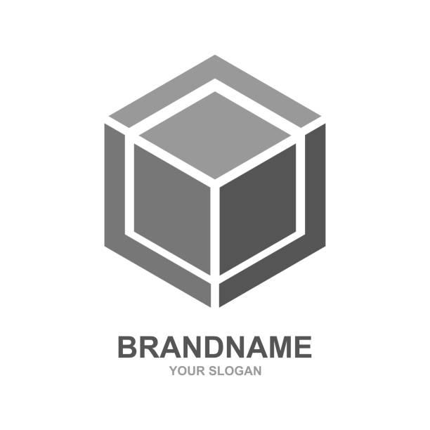 Cube logo design icon vector outbox. Vector Cube logo design icon vector outbox. EPS 10 cube shape stock illustrations