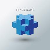 Cube logo design template.