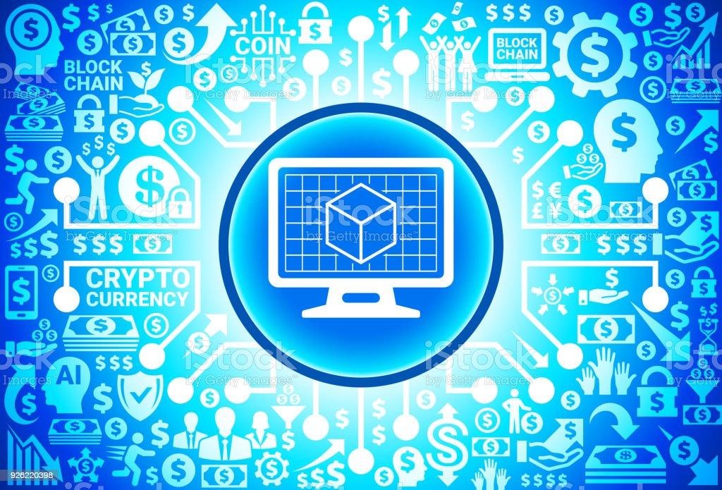 お金と cryptocurrency の背景にデスクトップ画面のアイコンを 3 d