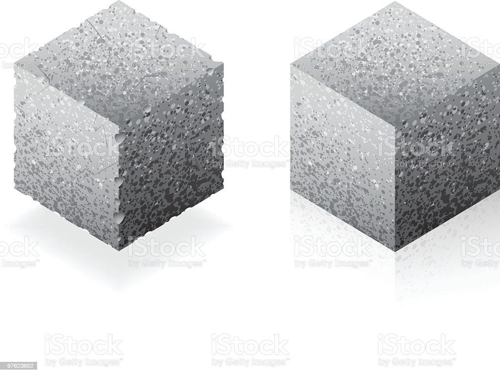 Cube or brick vector art illustration