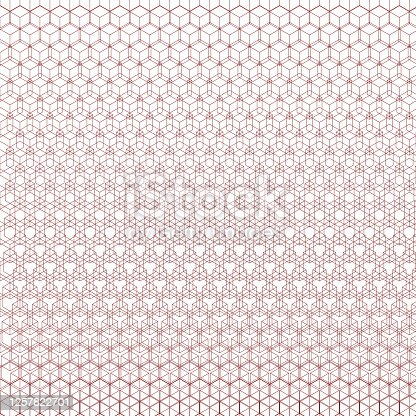 istock 3D cube outline. Vertical size gradient causing overlap. 1257822701