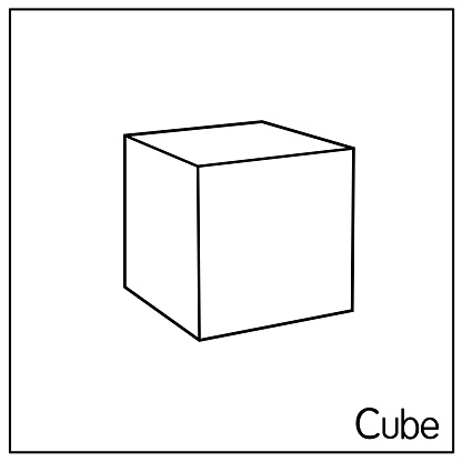 3D cube perfect shapes. Only black and white for preschool kid coloring, comparison, drawing, doodle, art project, first word book or flash card.