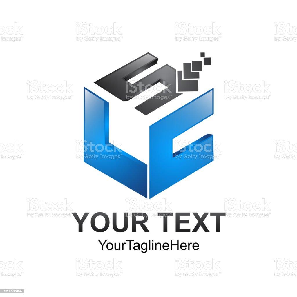 キューブ ピクセル文字 s l c 初期アルファベットのロゴ デザイン