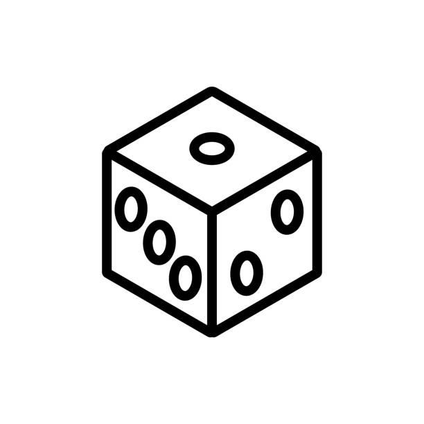cube playing icon vector outline illustration cube playing icon vector. cube playing sign. isolated contour symbol illustration backgammon stock illustrations