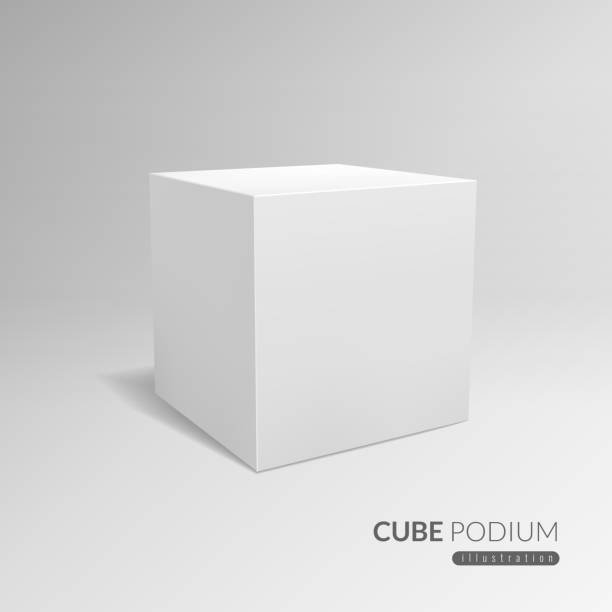 Cube podium. 3d cube pedestal, white blank block for product promo. 3d in perspective with shadow vector advertising template Cube podium. 3d cube pedestal, white blank block for product promo. 3d in perspective with shadow vector advertising standing cubic exhibition template cube shape stock illustrations