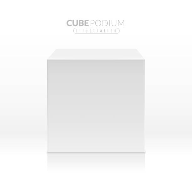 bildbanksillustrationer, clip art samt tecknat material och ikoner med cube podium. realistisk tom block, vit ruta i framifrån. reklam stativ för produkt promo, utställning piedestal 3d vektor utkast - piedestal