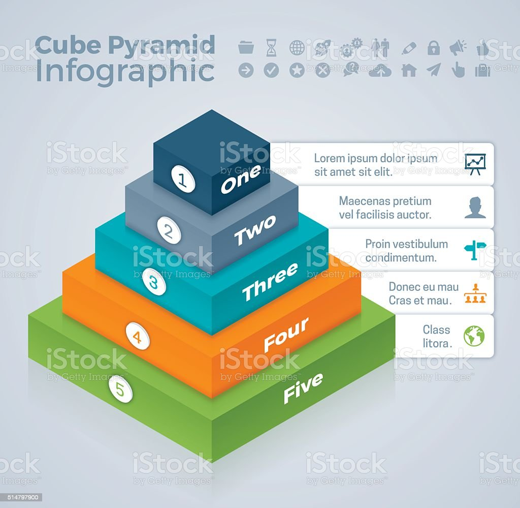 Cube Pyramid Infographic vector art illustration