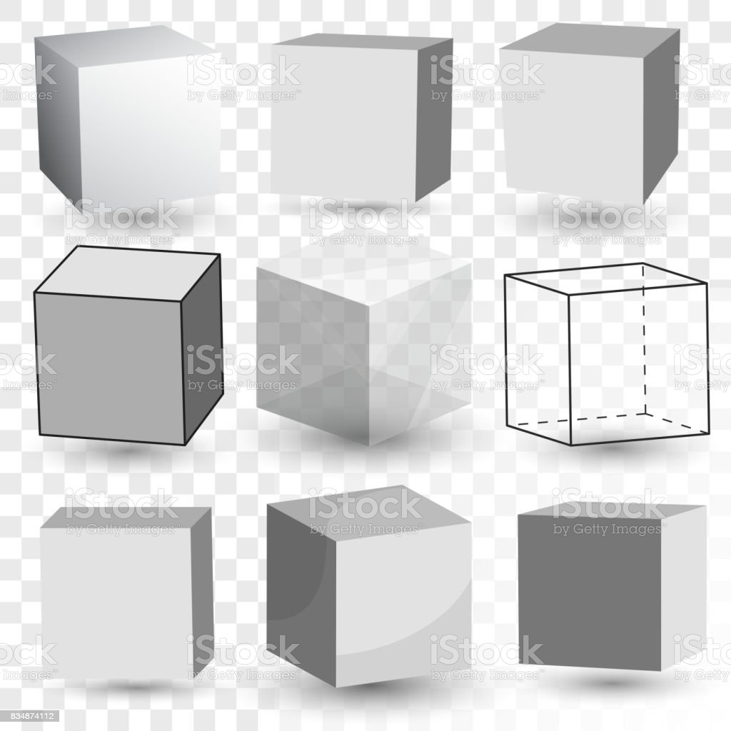 Cube Realistic set, transparent glass block model, paper cardboard box. Vector vector art illustration