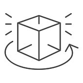 Cube rotation thin line icon. Cube 360 degrees rotate vector illustration isolated on white. Geometric figure view outline style design, designed for web and app. Eps 10