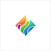 Cube water Multicolored Abstract Design Vector Template. Element Made of four cubes mutually connected versions included - company visual identity.