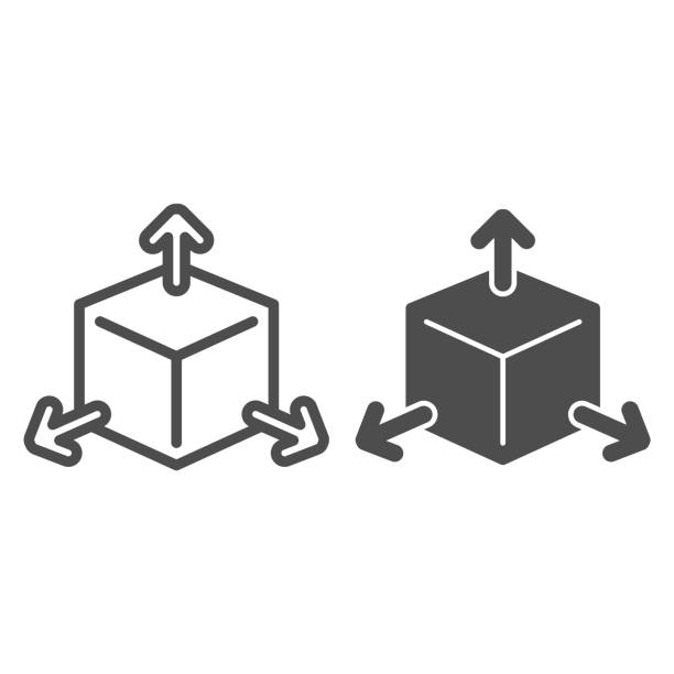 Cube with arrows line and solid icon, choice of directions or mathematical concept, three faces of cube sign on white background, volumetric square with arrows icon in outline style. Vector graphics. Cube with arrows line and solid icon, choice of directions or mathematical concept, three faces of cube sign on white background, volumetric square with arrows icon in outline style. Vector graphics architecture clipart stock illustrations