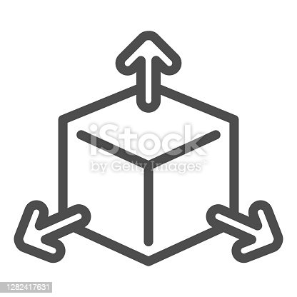 istock Cube with arrows line icon, choice of directions or mathematical concept, three faces of cube sign on white background, volumetric square with arrows icon in outline style. Vector graphics. 1282417631