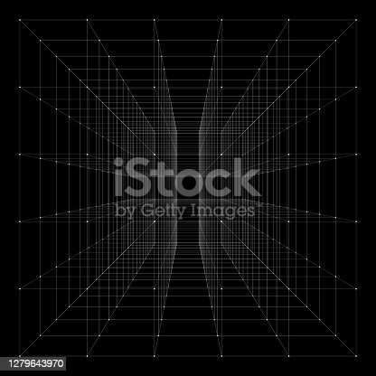 istock Cube with highlighted corners. With perspective. 1279643970