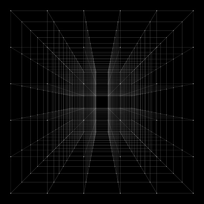 Cube with highlighted corners. With perspective.