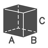 Cube with signed sides solid icon, geometry concept, Geometric transparent figure sign on white background, isometric cube form with square sides and signs icon in glyph. Vector graphics