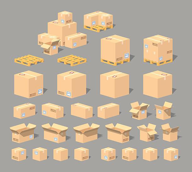 stockillustraties, clipart, cartoons en iconen met cube world. cardboard boxes - pallet