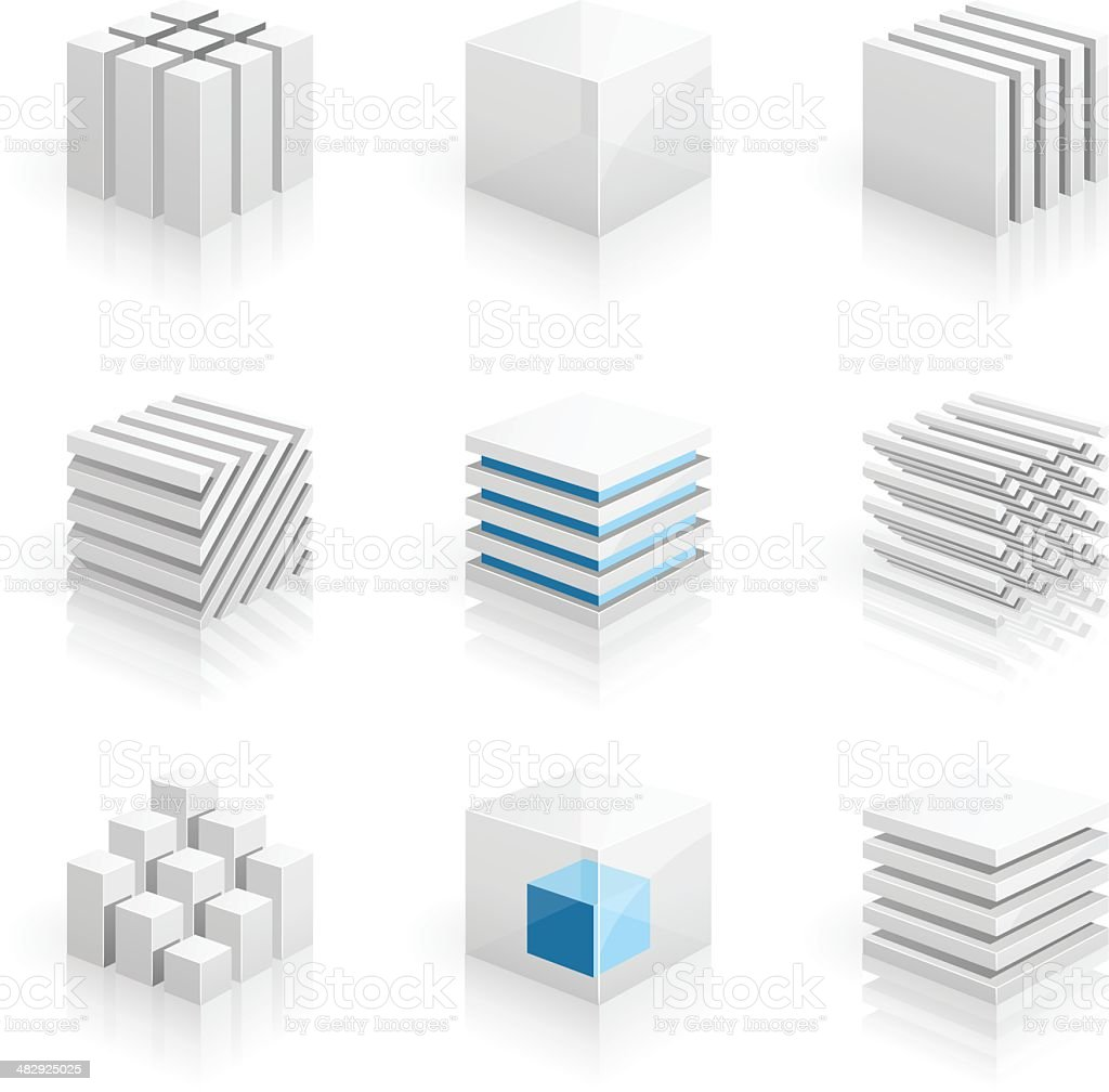Cubes - 3D series vector art illustration