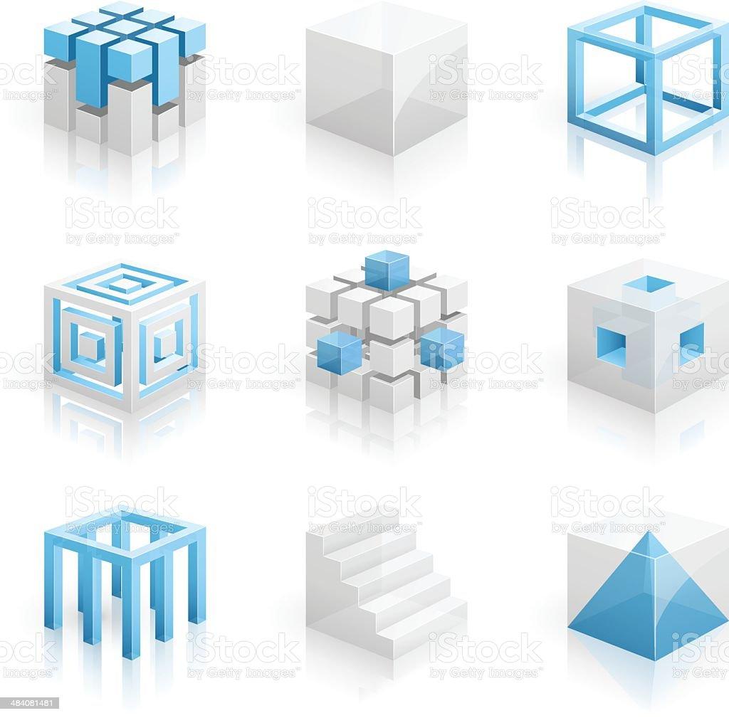 Cubes - 3D series vector art illustration