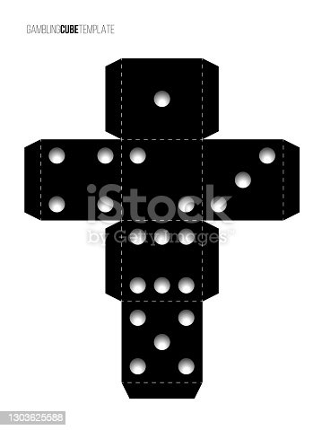 istock Cubes for gambling paper template. Casino craps and playing games vector illustration. Poker cube cutout black and white blueprint, numbers with dots isolated on white background 1303625588