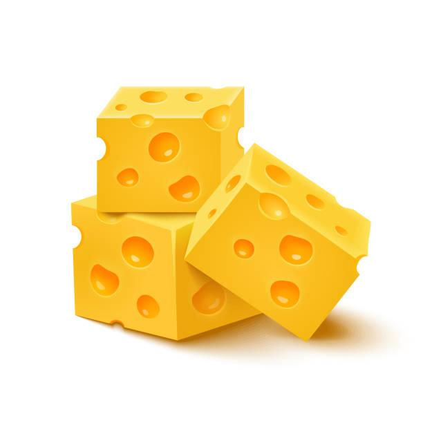 Würfel Gelb-Käse auf weißem Hintergrund. Vektor-illustration – Vektorgrafik
