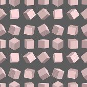 3D cubes seamless pattern vector box square geometric shape isometric block illustration.