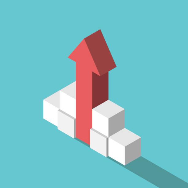 Würfel, die den Wachstumspfeil unterstützen – Vektorgrafik
