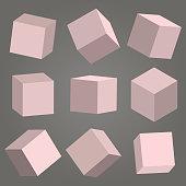 3D cubes vector box square geometric shape isometric block illustration.