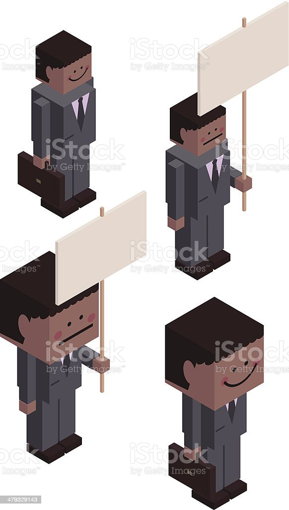 Cubic Businessmen with Briefcase and Billboard royalty-free cubic businessmen with briefcase and billboard stock vector art & more images of adult