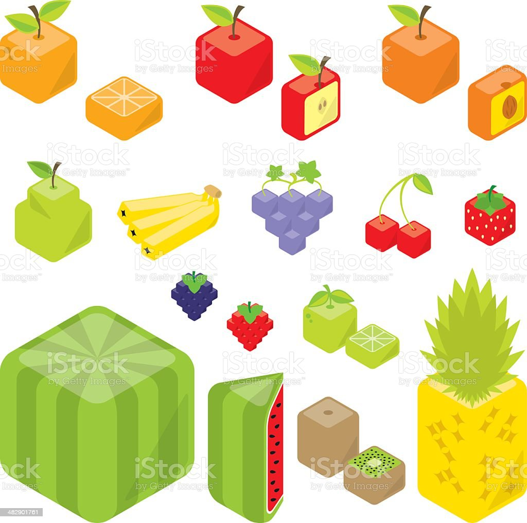 Cubic Fruits royalty-free stock vector art