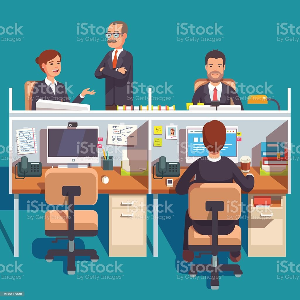 Cubicle office work space with employees vector art illustration