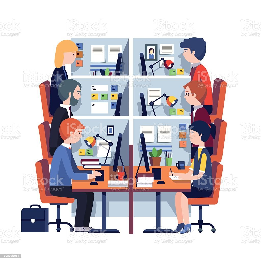 Cubicle office workplaces with employees vector art illustration