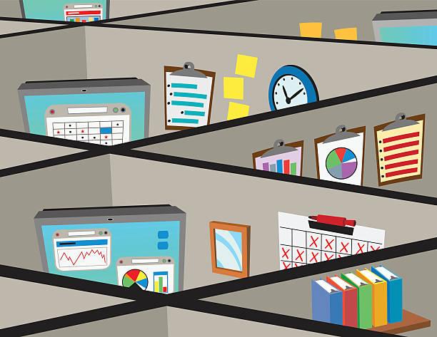 Cubicles vector art illustration