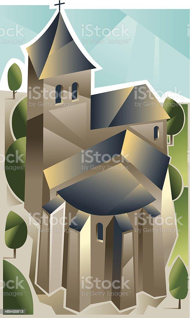 Cubist church royalty-free stock vector art