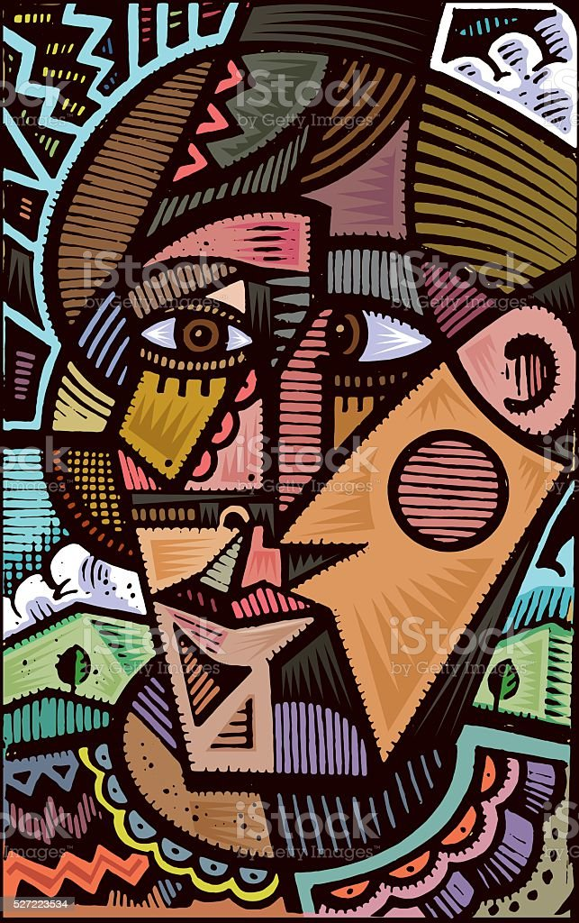 Cubist doodle illustration vector art illustration