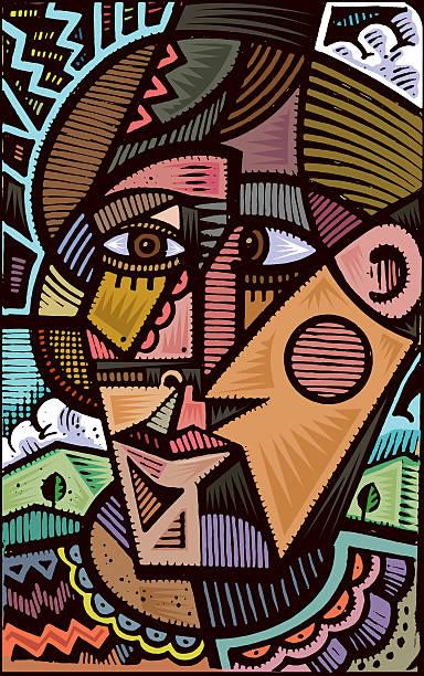 kubistische doodle illustrationen - surreal stock-grafiken, -clipart, -cartoons und -symbole