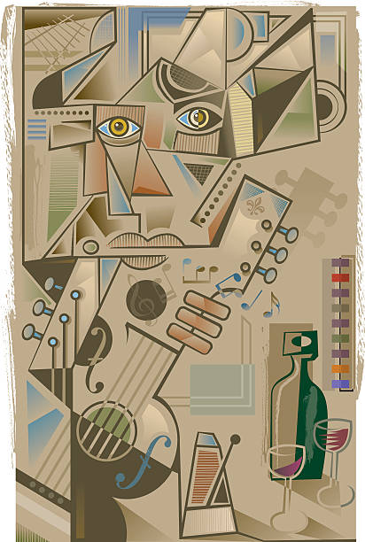 cubist guitarist - modern art stock illustrations