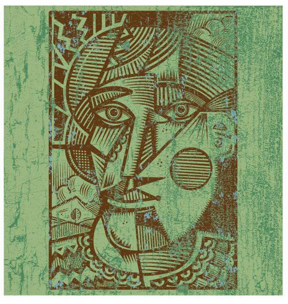 Cubist head illustration vector art illustration