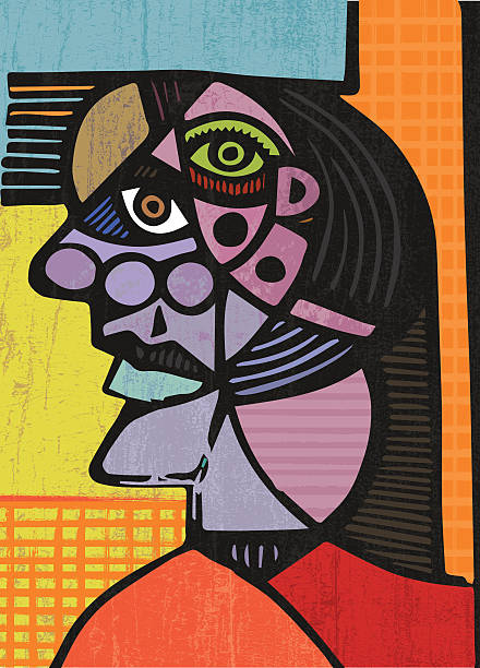 cubist head illustration - picasso painting stock illustrations