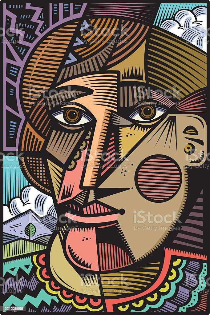 Cubist head illustration vector art illustration