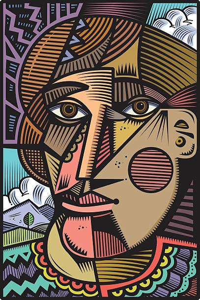 cubist kopf illustration - surreal stock-grafiken, -clipart, -cartoons und -symbole