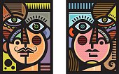 A pair of semi abstract heads, a male and a female, in a cubist modern art style.