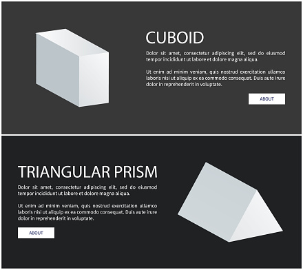 Cuboid and Triangular Prism Vector Web Banners Set
