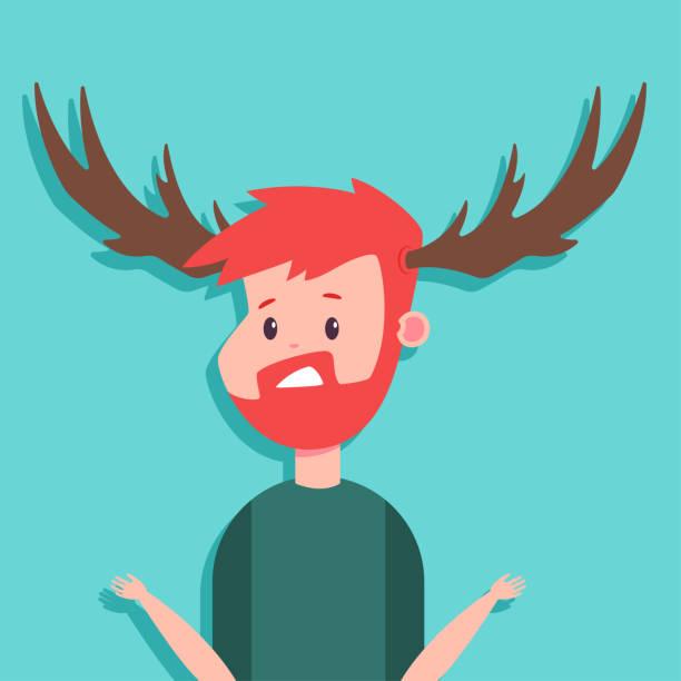 cuckold vektor comicfigur von einem überrascht mann mit geweih auf hintergrund isoliert. - vertrauensbruch stock-grafiken, -clipart, -cartoons und -symbole