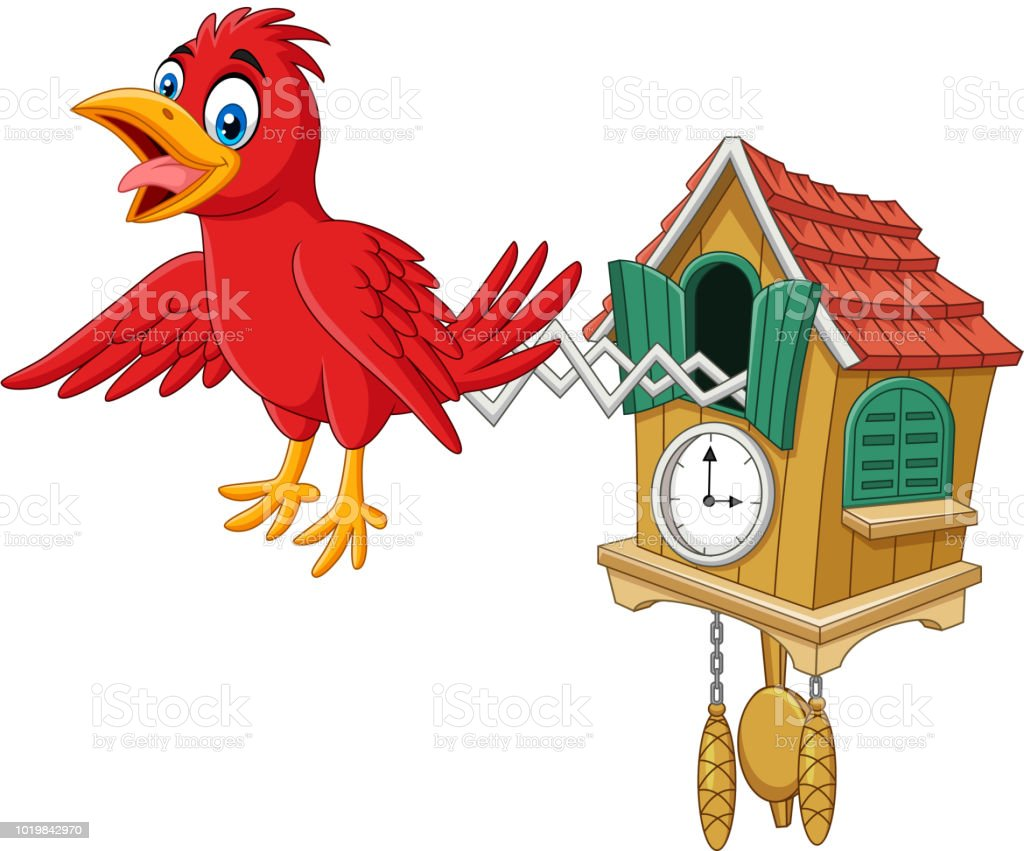 Cuckoo Clock With Red Bird Chirping Stock Vector Art More Images