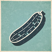 istock Cucumber. Icon in retro vintage style - Old textured paper 1328108334