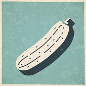 istock Cucumber. Icon in retro vintage style - Old textured paper 1337588276