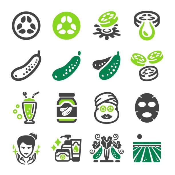 cucumber icon cucumber icon set pickle slice stock illustrations