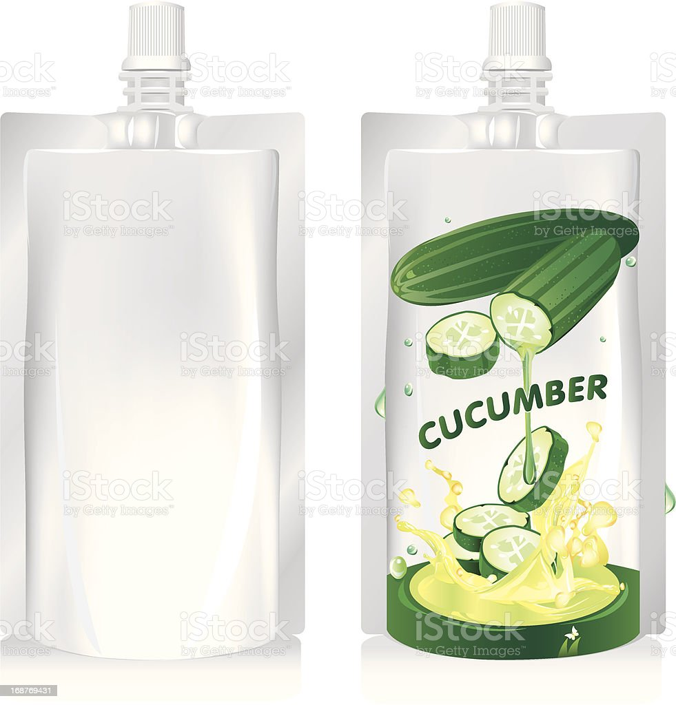 Cucumber juice packaging design, vector illustration royalty-free stock vector art
