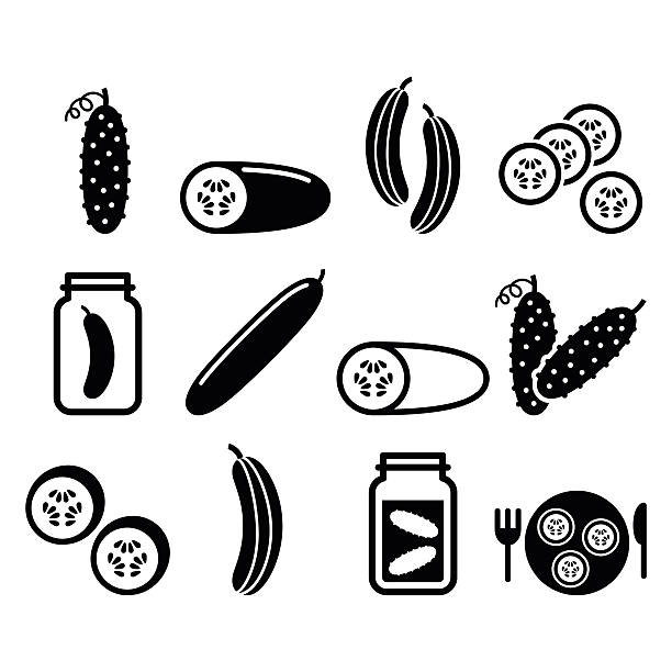Cucumber, pickled, cucumber slices - food vector icons set  Vegetable icons - cucumber design isolated on white pickle slice stock illustrations